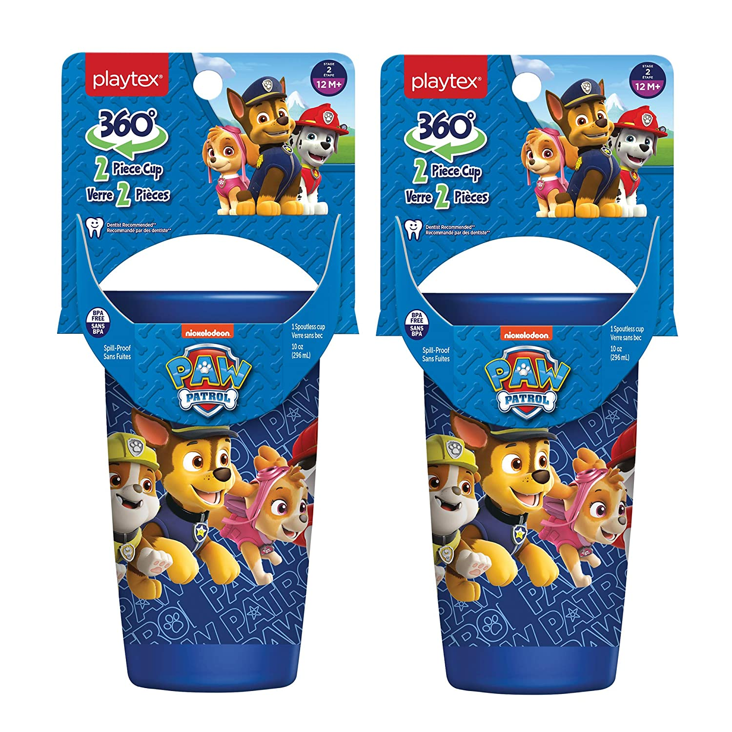 Playtex Sipsters Stage 2 360 Degree Paw Patrol Spill-Proof, Leak-Proof, Break-Proof Spoutless Cup for Boys, 10 Ounce - Pack of 2