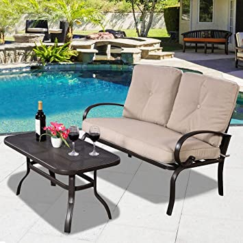 2 pcs Patio al aire libre juego de mesa de café muebles, banco con ...