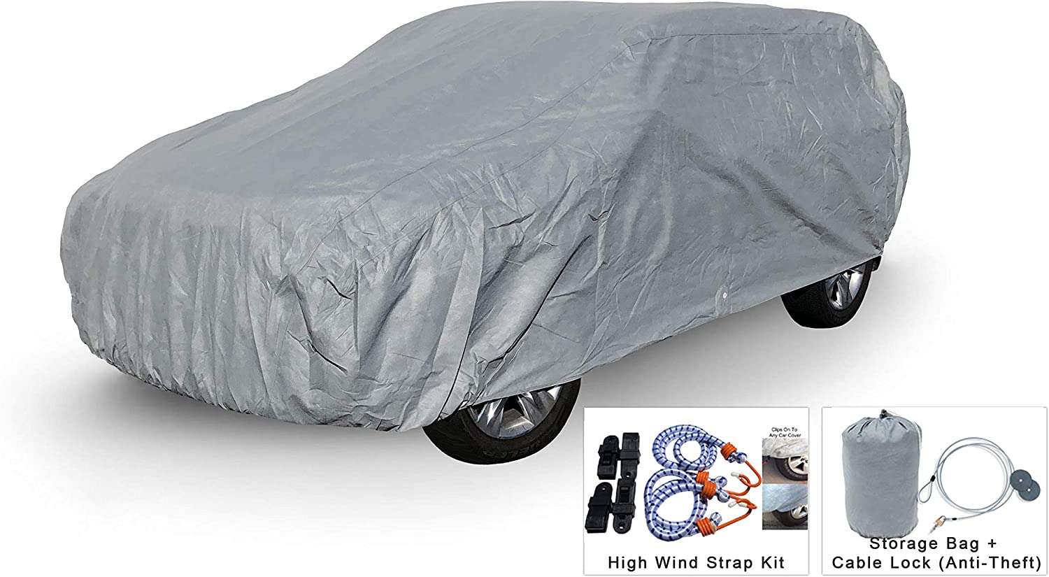 Weatherproof SUV Car Cover Compatible with Toyota RAV4 2006-2019 - 5L Outdoor & Indoor - Protect from Rain, Snow, Hail, UV Rays, Sun - Fleece Lining - Anti-Theft Cable Lock, Bag & Wind Straps