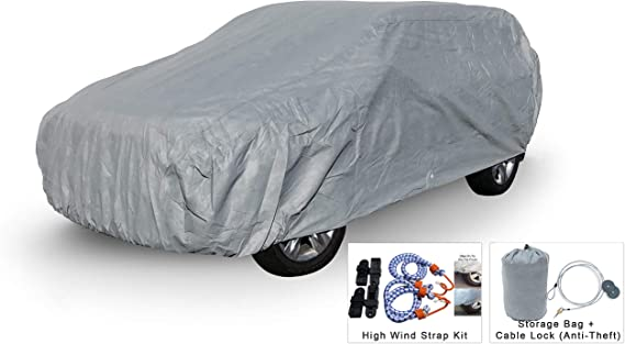 Weatherproof SUV Car Cover Compatible with Toyota Highlander 2008-2019 - 5L Outdoor & Indoor - Protect from Rain