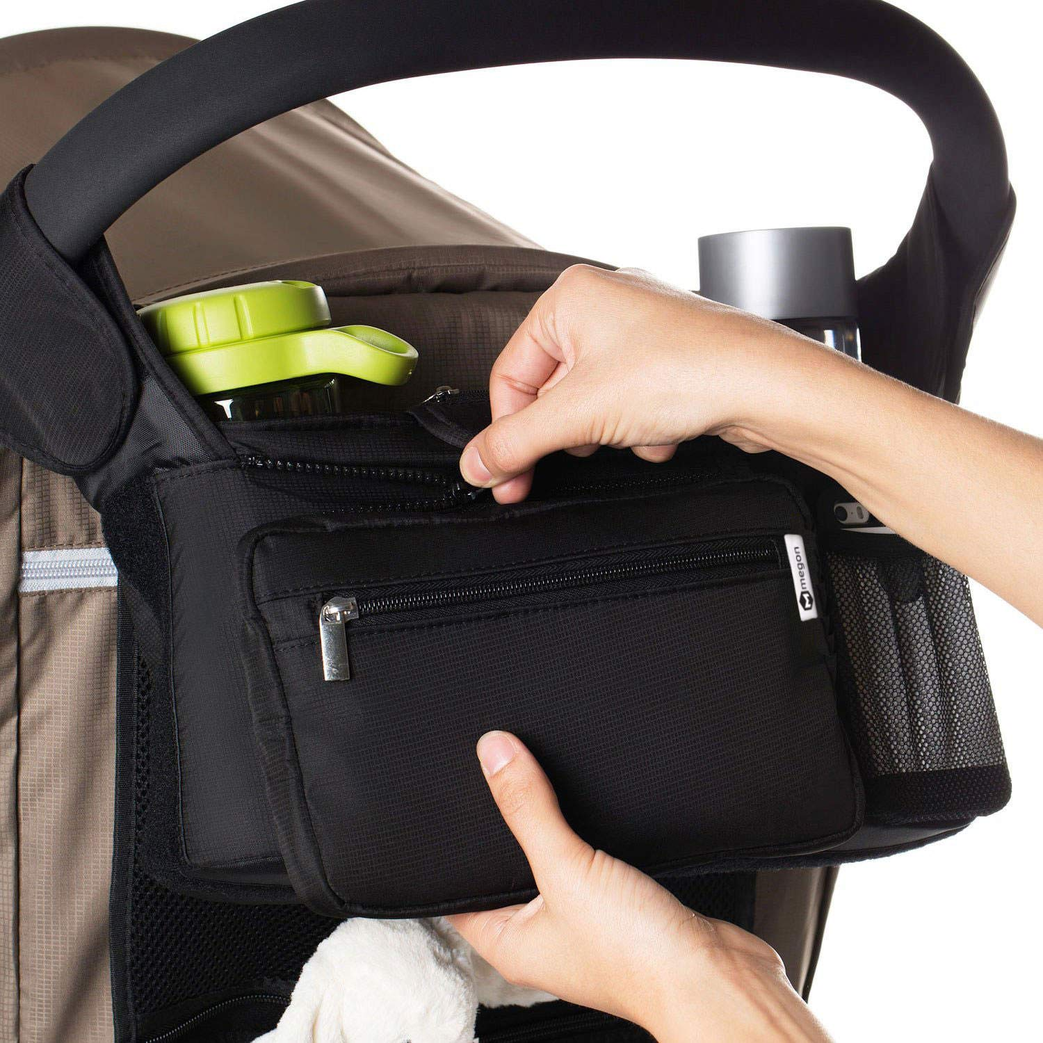 Cell Phone Stroller Bag Portable Pram Organiser Pushchair Organizer Insulated Cup Holders Multi Function Organizer Bag for Joie Brisk LX Travel Parent Console Stores Bottles Diapers Keys Wallet