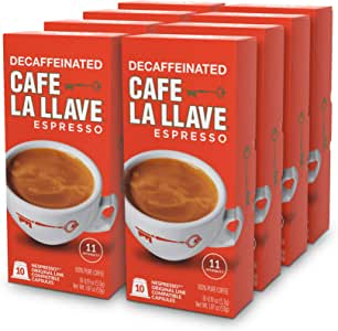 Café La Llave Decaf Espresso Capsules, Intensity 11 (80 Pods) Compatible with Nespresso OriginalLine Machines, Single Cup Coffee