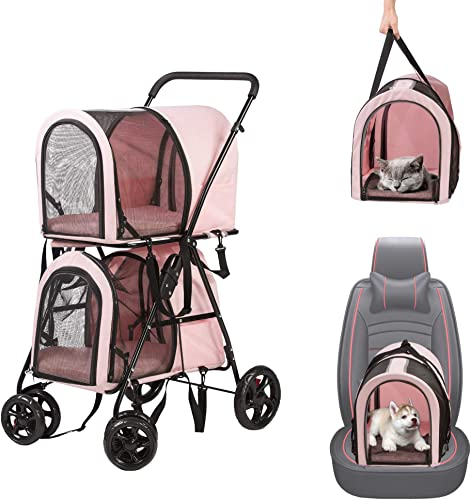LUCKYERMORE Double Pet Stroller for 2 Dogs Cats Folding Portable Jogging Travel Carrier Cage, Grey Blue Pink
