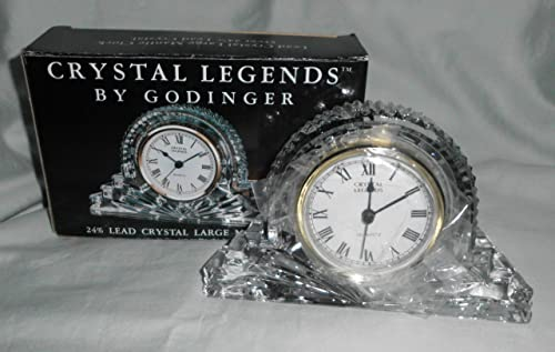 Godinger Crystal Legends Lead Crystal Large Mantle Clock 6 X 4