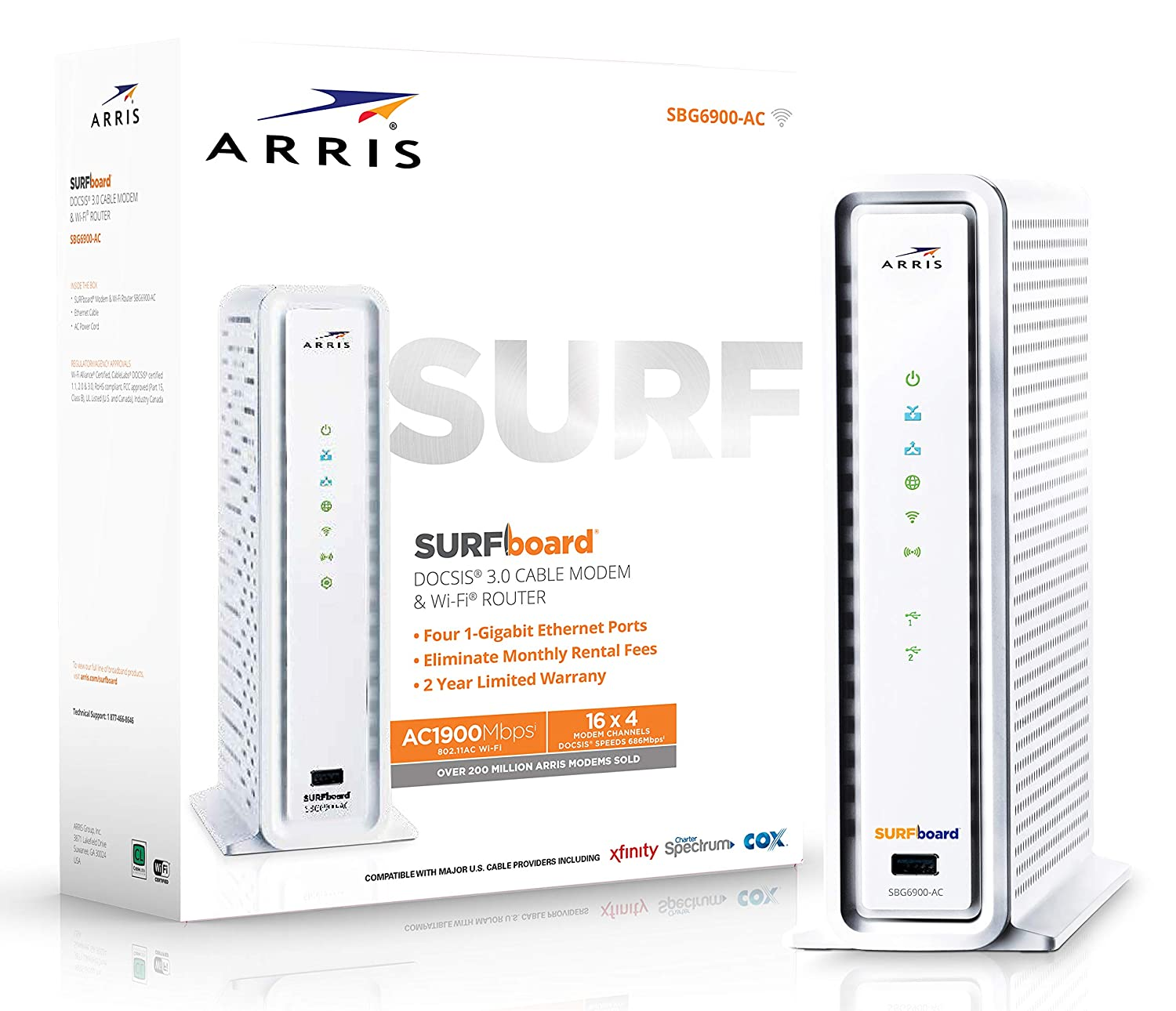 ARRIS SURFboard SBG6900AC Docsis 3 0 16x4 Cable Modem/ Wi-Fi AC1900 Router  - Retail Packaging - White