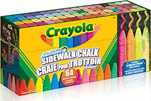 Crayola Sidewalk Chalk Sticks, Washable, Outdoor, Gifts for Kids, 64 Count, Outdoor Activities, Washable, Bright,...