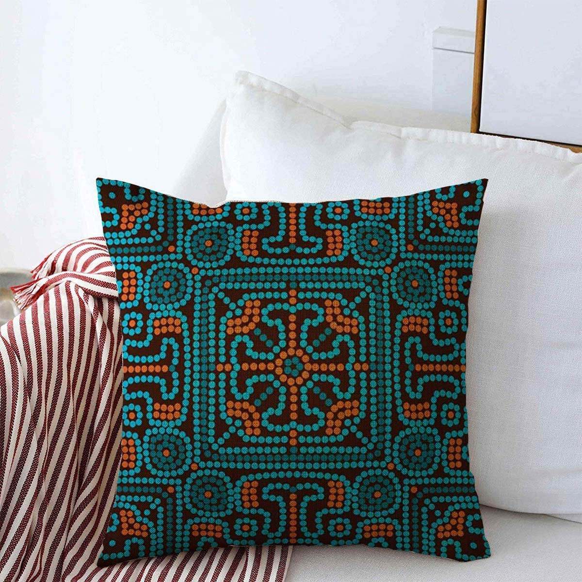 """Staroden Pillow Case Arabian Pattern Colourful Ethnic in Brown Blue Orange Mayan Colors African Latin American Dot Aztec Home Decor Throw Pillows Covers 20""""x20"""" for Winter Decorations"""