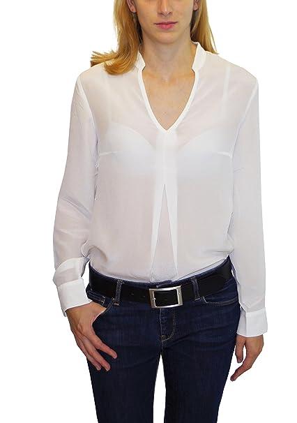 Posh Gear Mujer Blusa de Seda Piuseta 100% Seda, Blanco, XS