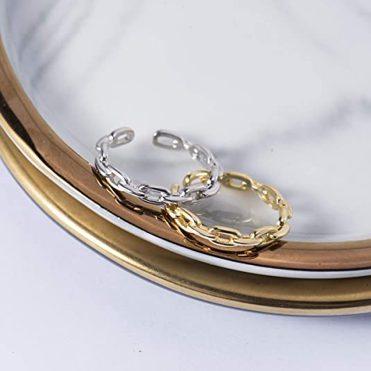Nossa 18K Gold Plated Sterling Silver Chain Link Ring Simple Stacking Band Open Rings for Women Adjustable