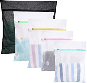 GOGOODA 5 Pcs Mesh Laundry Bags for Delicates with Zipper, Lingerie Bags for Laundry, Travel Storage Organize Bag, Clothing Washing Bags for Laundry,Blouse, Hosiery, Stocking, Underwear, Bra and Lin, N/A, 5 Pack-1 Extra Large, 2 Large & 2 Medium, B-5Pcs