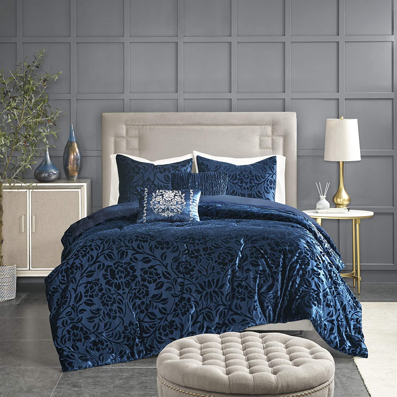 amazon com madison park irene faux velvet comforter embossed floral design modern luxe all season down alternative bed set with matching shams decorative pillows queen 90 x90 teal home kitchen madison park irene faux velvet comforter embossed floral design modern luxe all season down alternative bed set with matching shams decorative