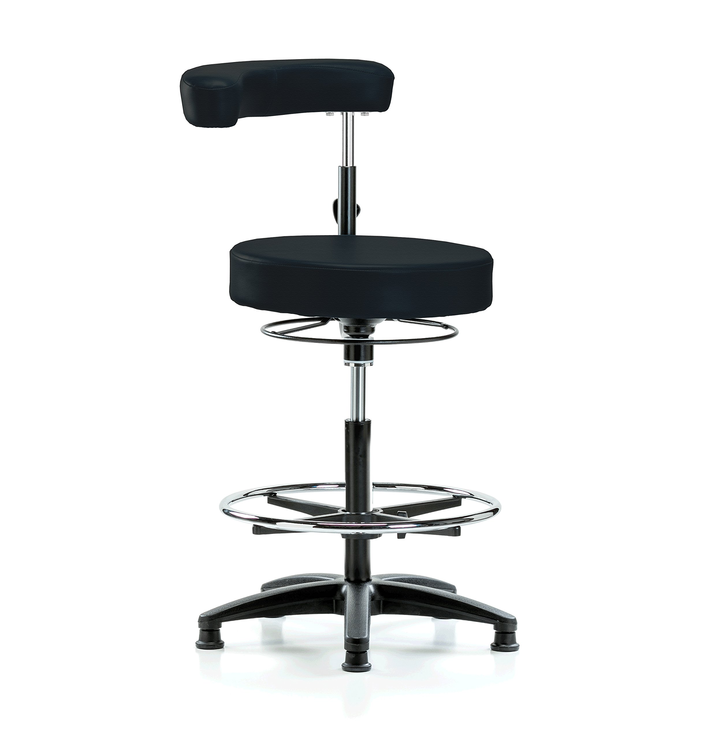 Perch Dental Stool Adjustable Height with Procedure Arm and Foot Ring, Stationary Caps, Counter Height (Black Fabric) by Perch Chairs & Stools