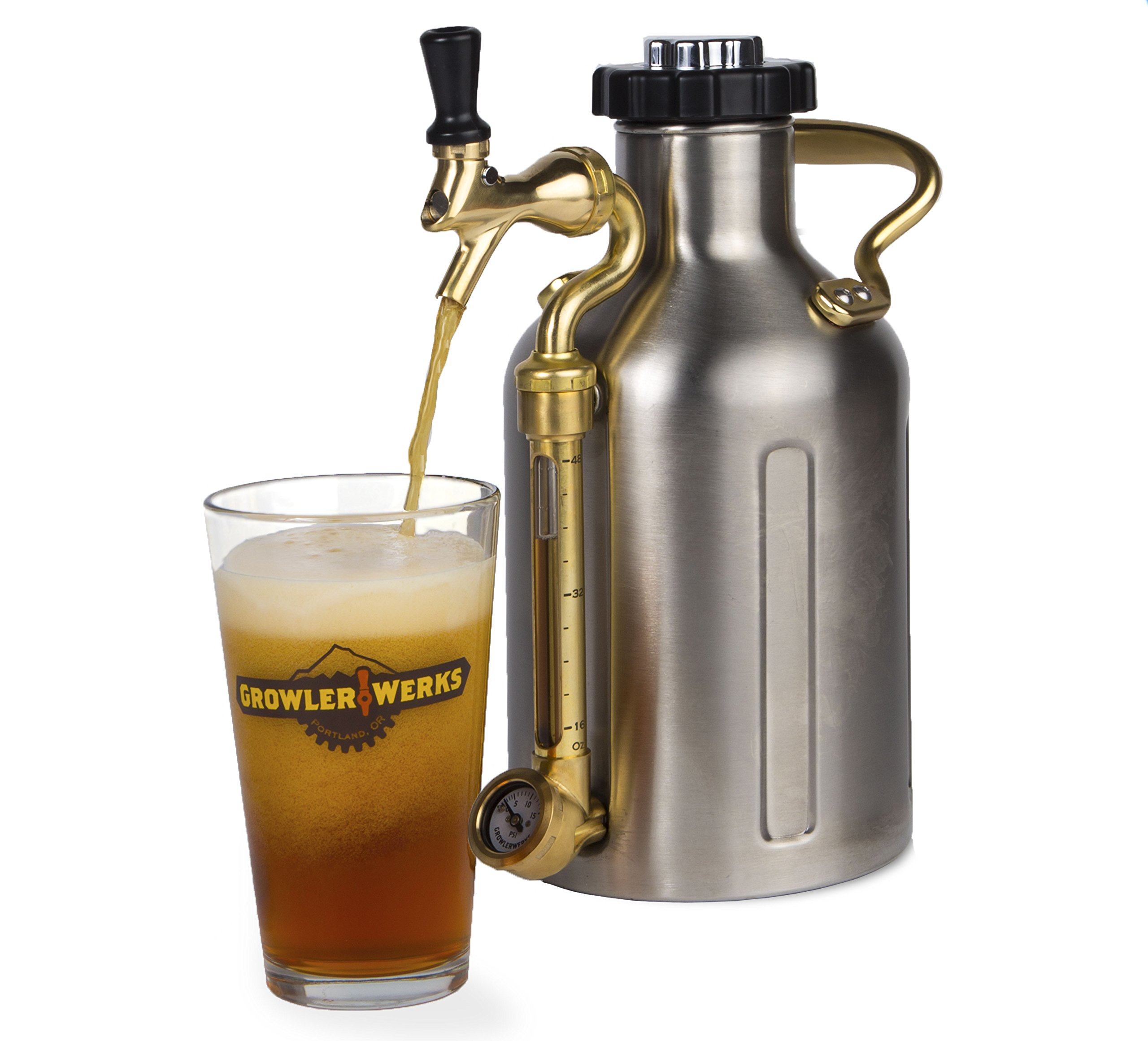 uKeg 64 oz Pressurized Growler for Craft Beer - Stainless Steel by GrowlerWerks (Image #4)