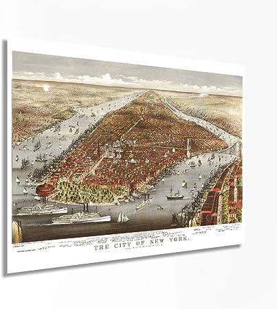 New York Vintage City Map 24x36 Bird/'s Eye View 1870 New York City