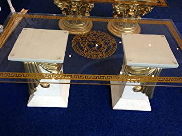 Medusa Glastisch Säulen griechische Tisch Barock Beistelltisch 10//34 K-2+50