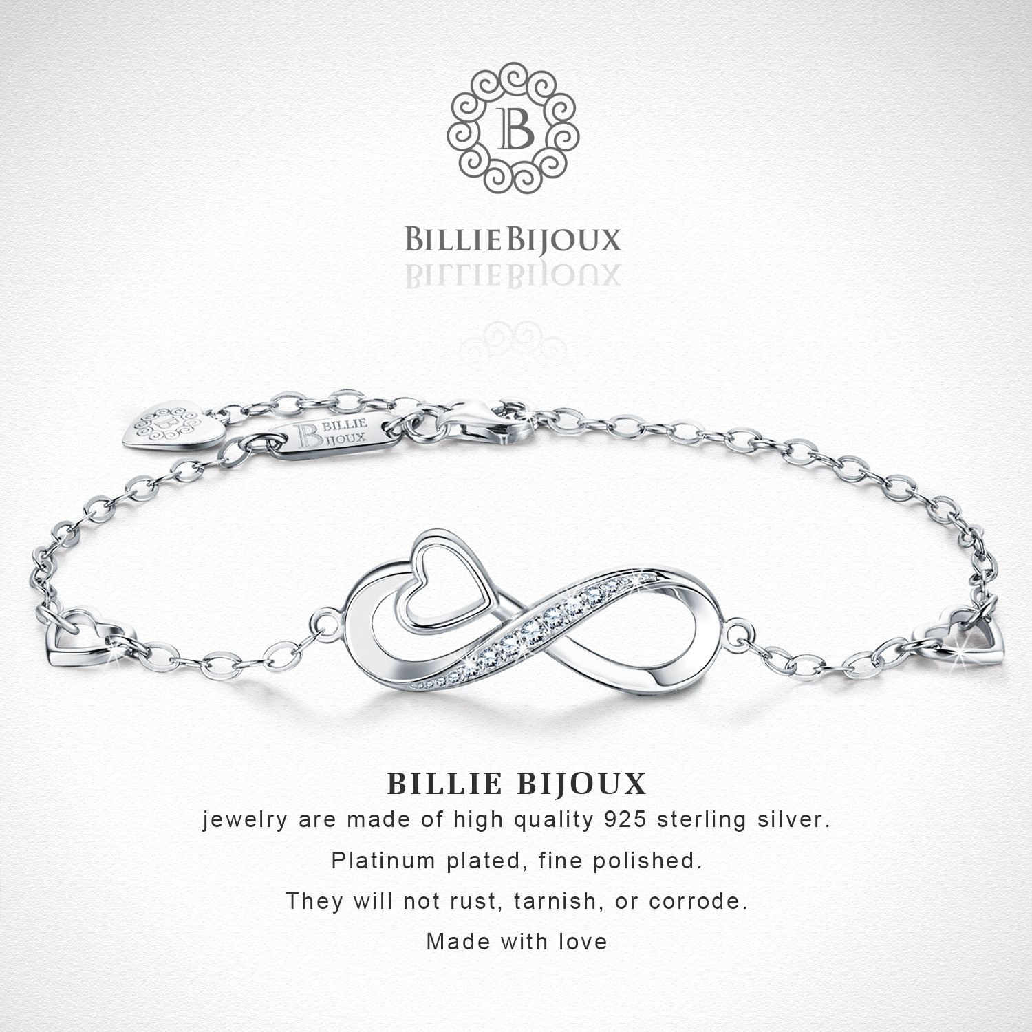 Billie Bijoux 925 Sterling Silver Infinity Heart Endless Love Symbol Charm Adjustable Bracelet White Gold Plated Women' s Gift for Graduation Birthday Valentine's Christmas Day by Billie Bijoux (Image #4)