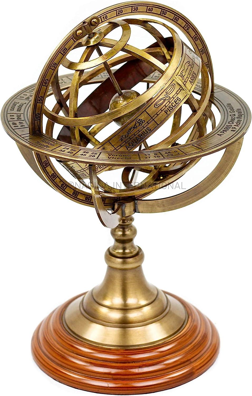 Nagina International Antique Vintage Zodiac Armillary Brass Sphere Globe Wooden Display | Pirate's Antique Ship Decor (Medium, Antique Brass)