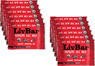 product image for LivBar - Raspberry Kale Maca Organic Superfood Nutrition Bar - USDA Certified - Non-GMO - Gluten Free, Peanut Free, Soy Free, Dairy Free, Protein Snack Bars with Compostable Wrapper - 12 Pack