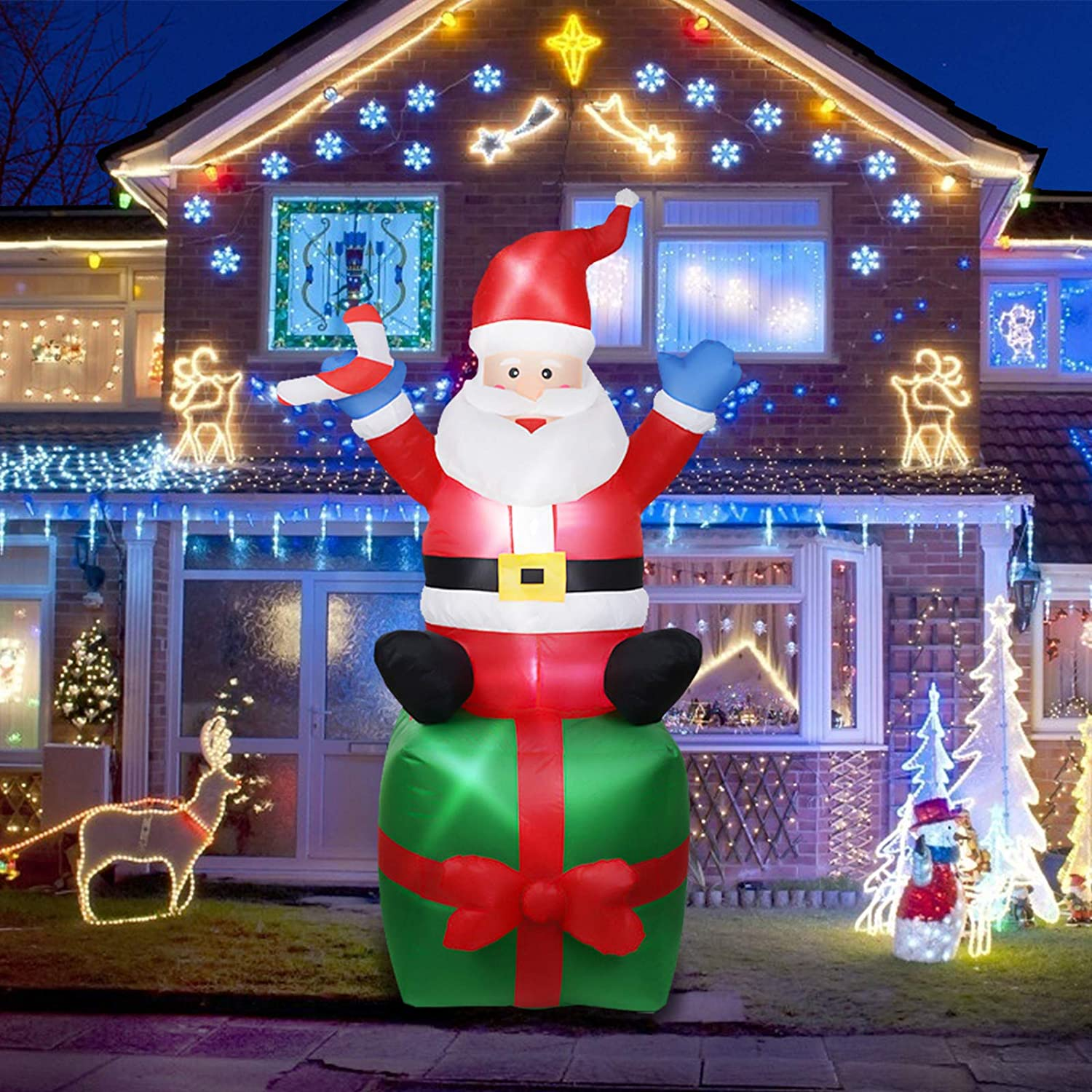 Evoio 6FT Christmas Decorations- Inflatable Santa Claus with Gifts Giant Yard Garden Lights Decor/Best for Outdoor and Indoor Holiday Decorations(Santa Sitting on The Gift Bag) (green4)