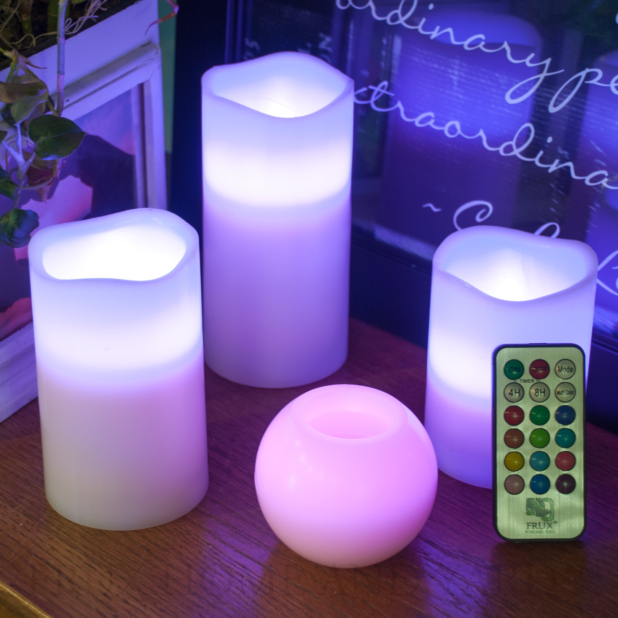 BEST FLAMELESS CANDLES WITH 12 COLOR, TIMER REMOTE CONTROL, Unscented Flickering Battery Operated Electric Candle for Home Decor, Weddings, Parties & Gifts, Set of 4' 5' 6' Pillars & BONUS Ball Candle by Frux Home and Yard (Image #8)