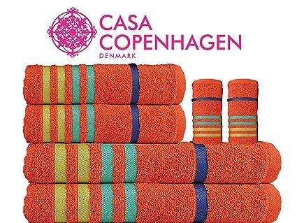 Casa Copenhagen Exotic Premium Egyptian Cotton 6 Pcs Towel Set - Orange (1 King Size Bath Towel (75x150cm), 1 Medium Bath Towel (60x120cm), 2 Hand Towels (40x60cm), 2 Face Towels(30x30cm)
