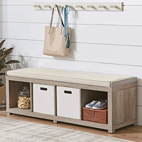 Astounding 300 Lbs Weight Capacity Bhg Transitional Style Organizer Bench 4 Cube Storage In Rustic Gray Pdpeps Interior Chair Design Pdpepsorg