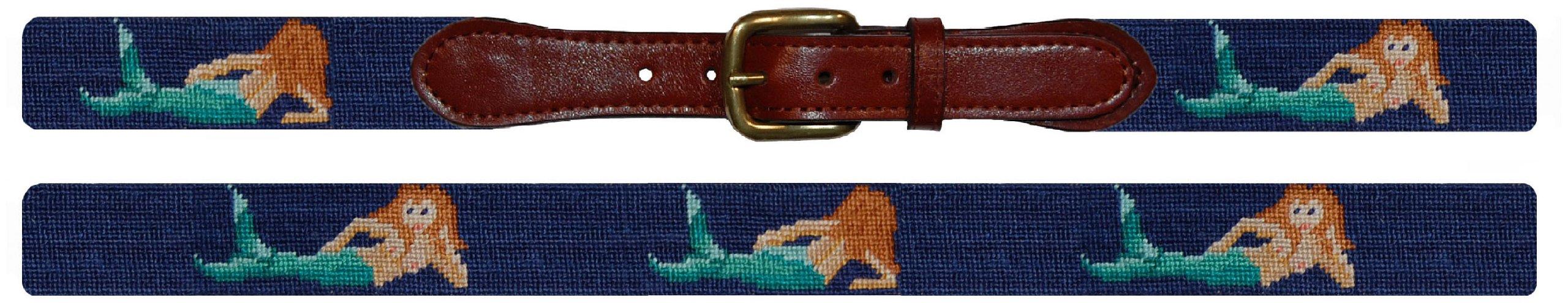 Smathers & Branson Mermaid Traditional Needlepoint Belt, Size 34 (B-099-34)