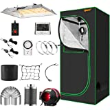 """IPOW Grow Tent Kit Complete 3.3x3.3ft LED Grow Light Dimmable Full Spectrum Indoor Grow Tent Kit 24""""x24""""x55"""" Hydroponics Grow"""