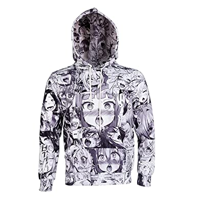 huech 3d hoodies cartoon anime ahegao print women men long sleeve