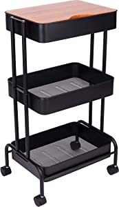 ZHAOER 3 Tier Rolling Cart - Utility Carts with Wheels and Cover Board for Home Office Art Storage (Black)