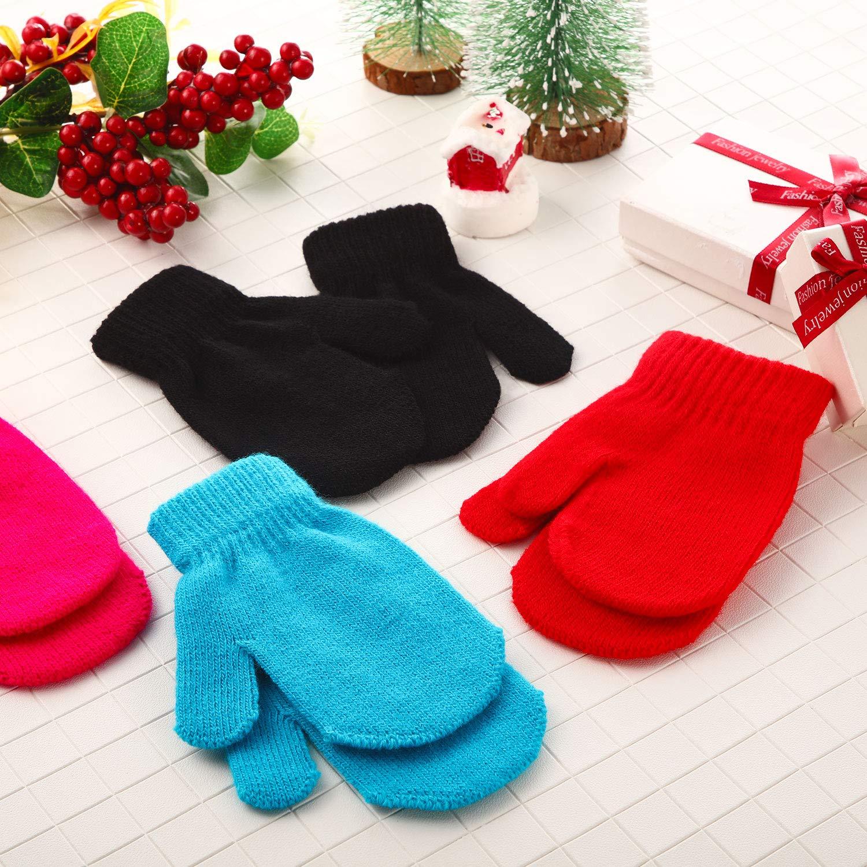 12 Pairs Toddler Stretch Mittens Winter Knitted Gloves Unisex Baby Kids Mittens
