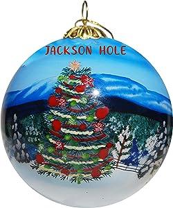 Art Studio Company Hand Painted Glass Christmas Ornament - Jackson Hole Mountain Christmas Tree