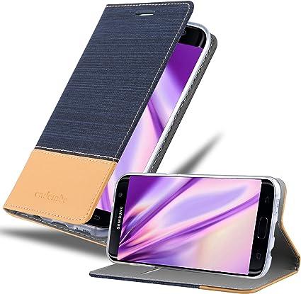 Cadorabo Coque pour Samsung Galaxy S7 Edge en Bleu FONCÉ Marron - Housse Protection avec Fermoire Magnétique, Stand Horizontal et Fente Carte - ...