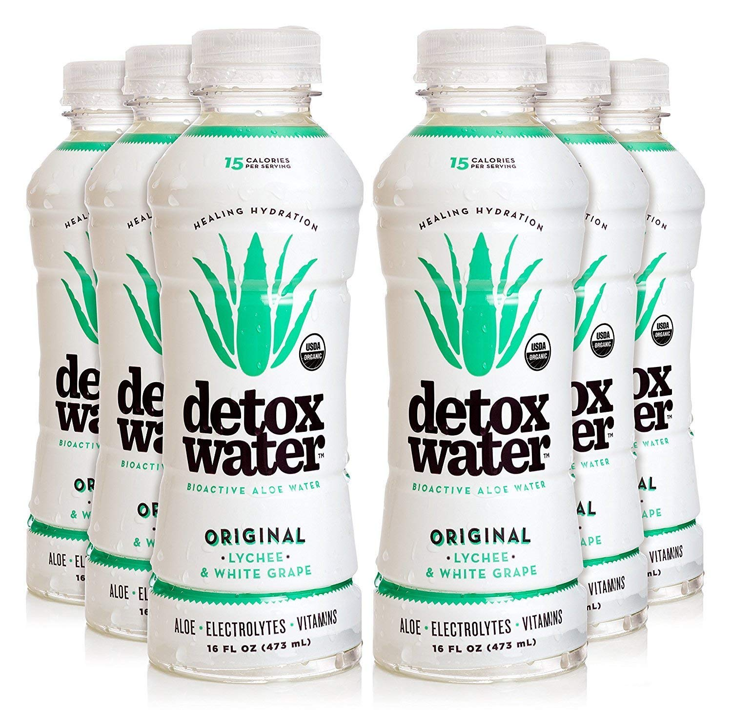 Detoxwater Prebiotic Aloe Water - Original (Lychee & White Grape) 16 Fluid Ounces, Pack of 6