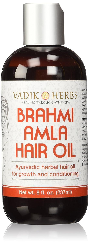 Brahmi Amla Hair Oil (8 oz) by Vadik Herbs | Ayurvedic herbal hair growth oil and hair conditioning oil | Great for hair loss, balding, thinning of hair, for beard growth, herbal scalp treatment VH-0001