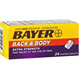 Bayer Back & Body Aspirin 500mg Coated Tablets, Pain Reliever with 32.5mg Caffeine, 24 Count