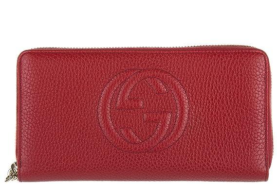 Gucci Portefeuille Porte Monnaie Femme En Cuir Deux Plis Soho Rouge