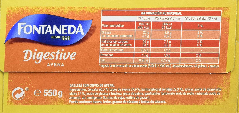 Fontaneda Digestive Galletas con Avena - 550 g: Amazon.es: Amazon Pantry
