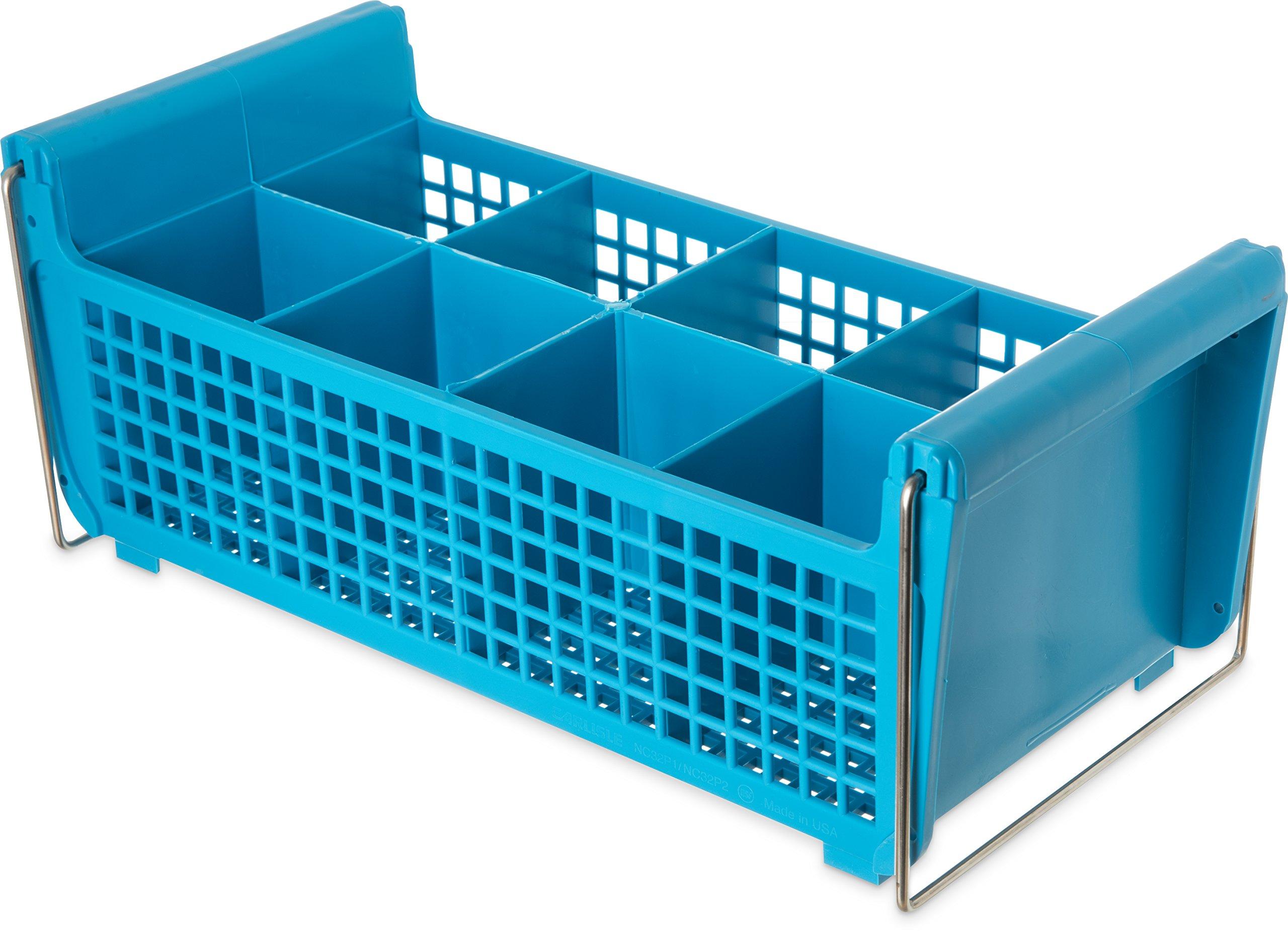 Carlisle C32P214 OptiClean Polypropylene Flatware Basket with Handle, 17-1/16'' L x 7-3/4'' W x 6-7/8'' H, Carlisle Blue (Case of 6)