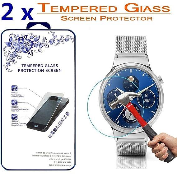 2X Huawei Watch Glass Screen Protector,[2 Pack] Nacodex for Huawei Watch/Huawei SmartWatch Premium Ballistic Tempered Glass Screen Protector