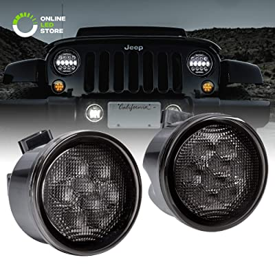 Jeep LED Turn Signal Lights [Smoked Lens] [Amber Color] [DRL] Turn signal Running Lights for 2007-2020 Jeep Wrangler JK Unlimited Accessories: Automotive