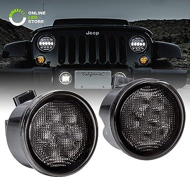 "For 2007-2016 Jeep Wrangler JK 4PC 7/"" Round LED Headlight DRL Rear Tail Light"