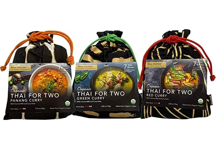 Thai for Two Cooking Kit by Verve CULTURE | USDA-Organic Red Curry, Green Curry, & Panang Curry | Unique Cooking Gift Set | Vegan, Gluten-Free | Made in Thailand | Variety Pack of 3