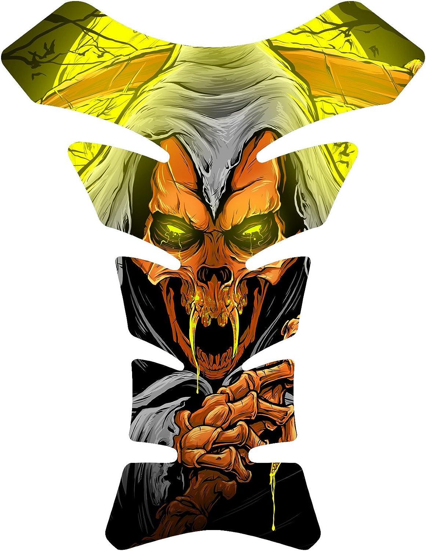 Size is 8.5 in tall x 6.5 in wide Vampire Grim Reaper Orange Gel Motorcycle Gas Tankpad Motorcycle TanK pad Decal Sticker