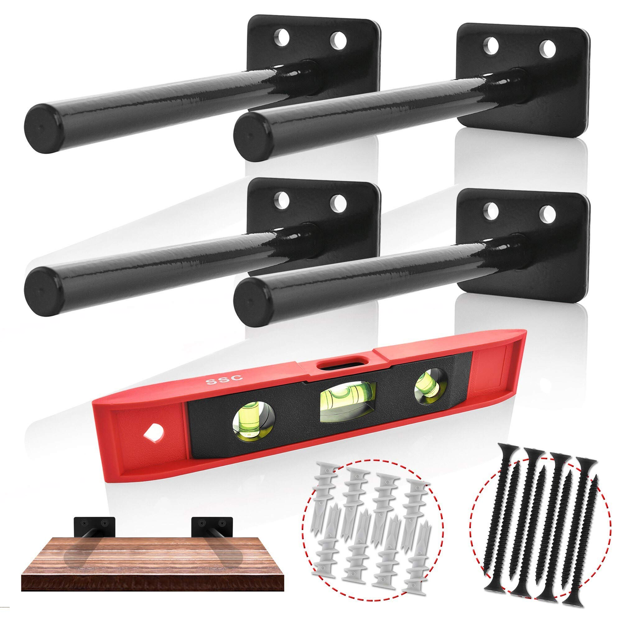 Floating Shelves Support Brackets - Home Décor, Storage, Organization - 4 x Heavy-Duty Powder Coated Stainless Steel Blind Shelf Supports - 8x Heavy-Duty Screws, 8x Drywall Anchors, BONUS Spirit Level by SSC CREATIONS