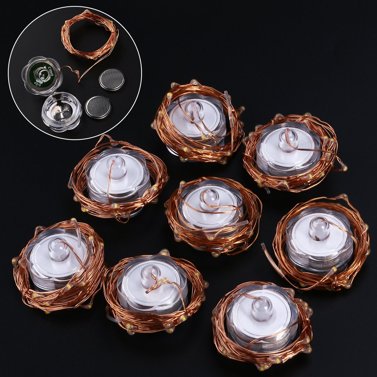 LED Starry String Lights, 8PCS 6.5foot Warm White Copper Fairy Lights with 20 Micro LEDs, Waterproof, Battery Operated, for Wedding Parties Table Decoration by YUNLIGHTS (Image #8)