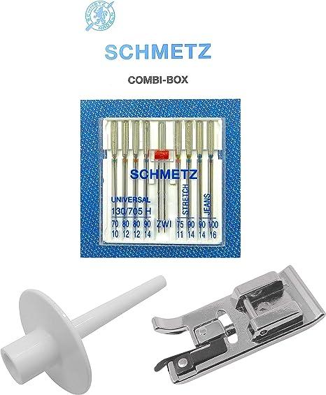 ZickZackNaehmaschine Schmetz Agujas Combi de Caja + Soporte para Rollos de Hilo lápiz Simplemente Sobre spuler ...