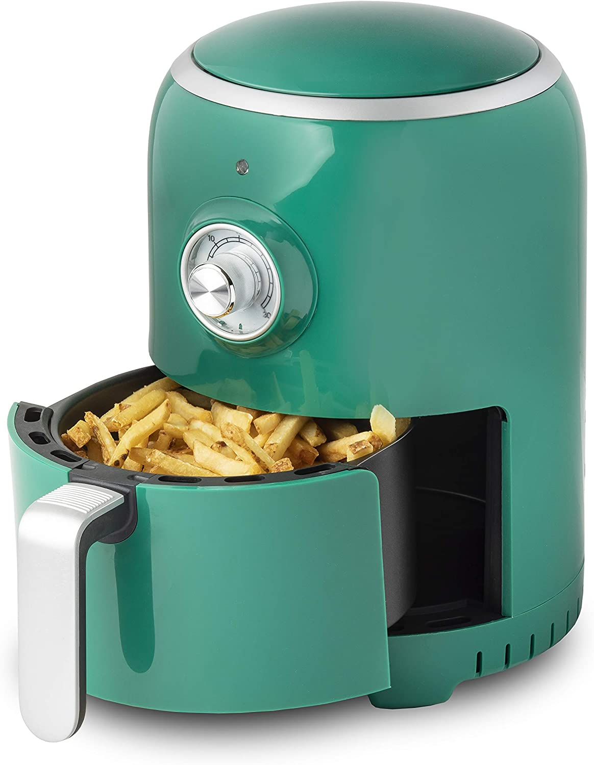 Aria Air Fryers RAG-596 Air Fryer, 2Qt, Dark Green With White Trim & Basket Handle