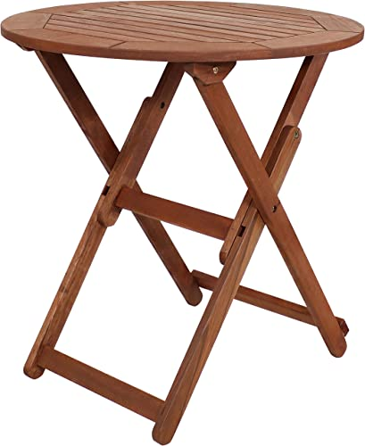 Sunnydaze Meranti Wood Folding Round Bistro Table with Teak Oil Finish – 27.5-Inch Compact Sturdy Outdoor Portable Table – Perfect for Camping and Dining – Ideal for The Patio, Front Porch or Garden