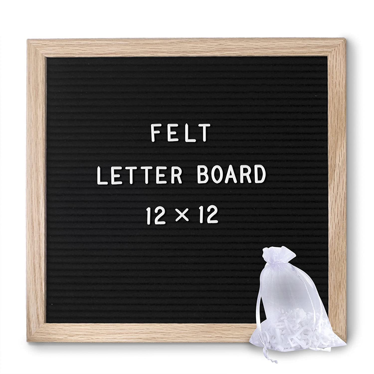 felt letter board black modern 12x12 picture stand and wall hook oak wood frame